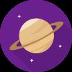 Ikona planety na fialovém pozadí