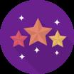 Ikona tří hvězd na fialovém pozadí
