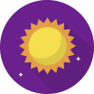 ikona slunce na fialovém pozadí