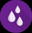 Ikona dešťové kapky na fialovém pozadí